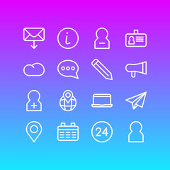 Vector Illustration Of 16 Community Outline Icons. Editable Set Of Profile, Identity Card, Megaphone And Other Elements.