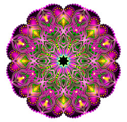 Fantasy Latin American ornament done in kaleidoscopic style. Geometric circle vector image.