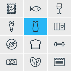 Vector Illustration Of 12 Lifestyle Outline Icons. Editable Set Of Apparatus, Elegance, Veggie And Other Elements.