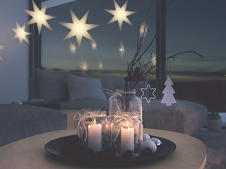 3d rendering. home with christmastree in modern apartment. 2. advent. filterd