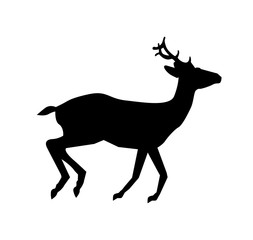 Black silhouette of running reindeer  isolated on white background.