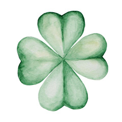 Watercolor Saint Patrick's Day illustration. Clover ornament. For design, print or background