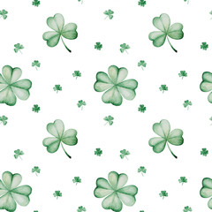 Watercolor Saint Patrick's Day pattern. Clover ornament. For design, print or background