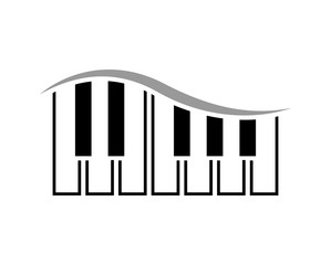 Black and White Electronic Devices Piano Music with Wave Sound Logo Symbol