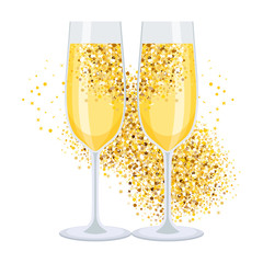 golden champagne on white