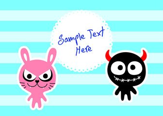 cute monster message card vector