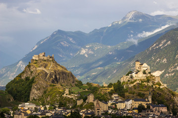 castles of Sion in Switzerland in Alps
