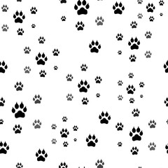 Paw print seamless. Traces of Cat Textile Pattern. Vector seamless