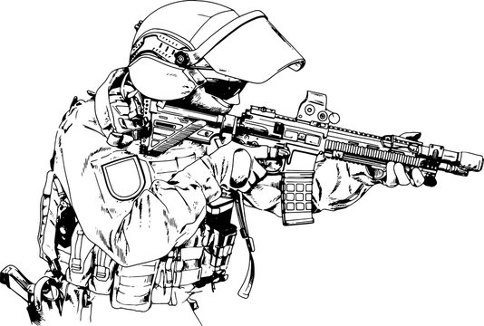 soldiers attack with a gun in the form of special forces drawn in ink by hand on a white background