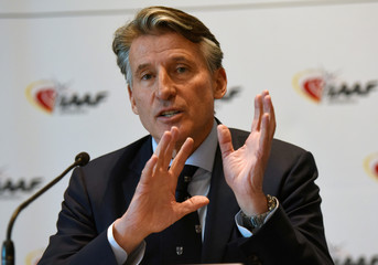 Sebastian Coe, IAAF's President, attends a press conference as part of the International Association of Athletics Federations (IAAF) council meeting in Monaco
