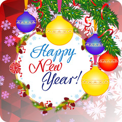 """Holiday greeting card with Christmas baubles and artistic written text """"Happy New Year!""""."""