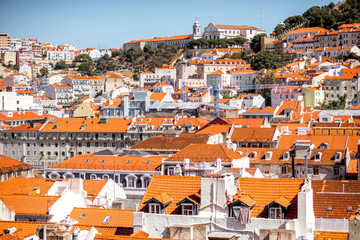 Cityscape view on the old town castle hill during the sunny day in Lisbon city, Portugal