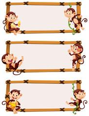 Three borders with cute monkeys
