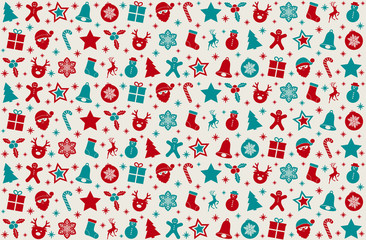 Christmas background with cute elements. Vector.