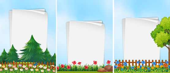 Three paper templates with garden background
