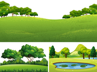 Three scenes with green lawn and pond