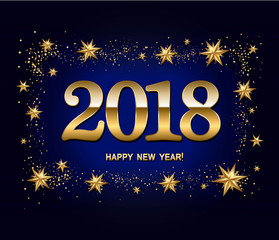 Happy new year design layout on dark blue background with 2018 and gold stas. Vector illustration