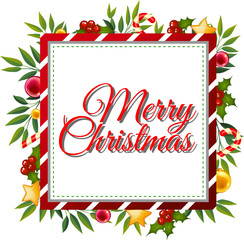 Merry christmas card template with ornaments in background