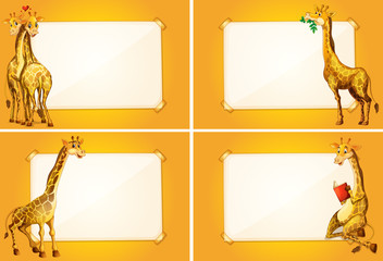 Four border templates with cute giraffes