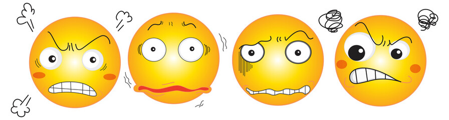 Different expressions of yellow balls