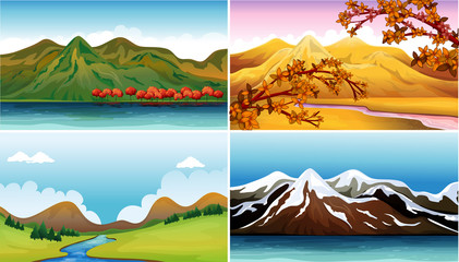 Four background scenes with mountains