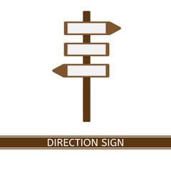 Vector illustration of direction arrow sign isolated on white background. Blank road sign in flat style. Wooden signpost.