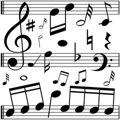 Music notes on line scales