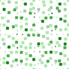 Vector seamless pattern with green flowers on white.