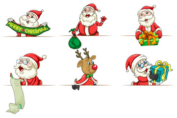 Santa and reindeer in different actions