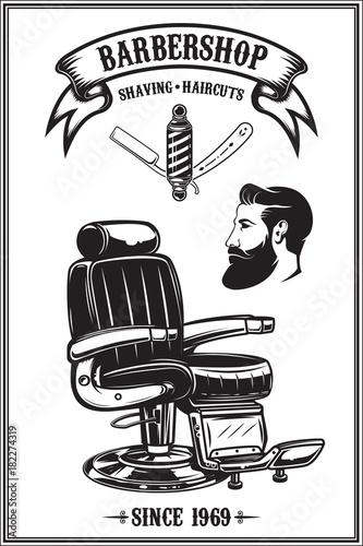 Barbershop Poster With Barber Chair Haircut Tools Design Elements For Emblem