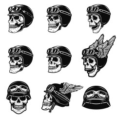 Set of the racer skulls isolated on white background. Skull in biker helmet. Design element for poster, emblem, t shirt. Vector illustration