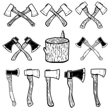 Set of the wood cuts, lumberjack axes. Design elements for logo, label, emblem, sign, badge. Vector illustration
