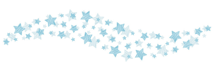 Swirl of Christmas scribbles ice blue stars on white background