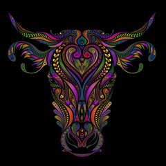 Beautiful color vector cow from a variety of patterns
