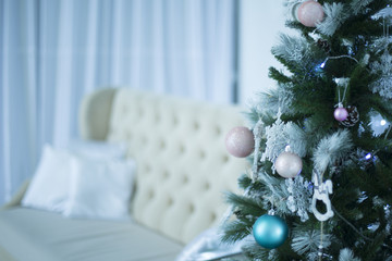 Christmas interior with decorated Christmas tree
