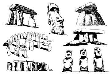 Graphical set of megaliths isolated on white background,vector Wall mural