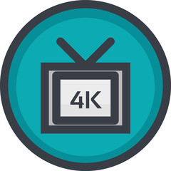 Vector Icon of 4k video quality on button in flat style with outline. Pixel perfect. Player and multimedia icon.