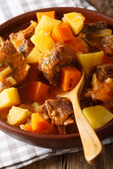 thick stewed estofado with beef and vegetables close-up. vertical