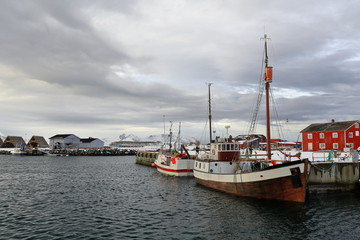 Fishing boats-old and modern-moored in the port. Laukvik-Vagan kommune-Austvagoya-Lofoten-Norway. 0622