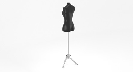 3D rendering - female black mannequin on metal stand for dressmaker isolated on white background.