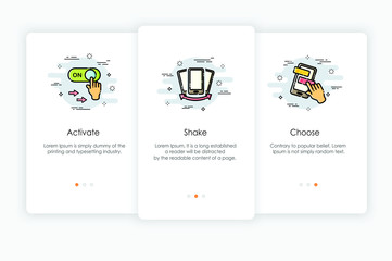 Onboarding screens design in mobile action concept. Modern and simplified vector illustration, Template for mobile apps.