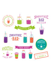 set of icons, logo, elements, symbols, emblems and labels  - smoothie, coffee to go, frappe, juice, fruits cocktail, lemonade,  mason jar, other fresh drinks, bottle. Multicolor and neon