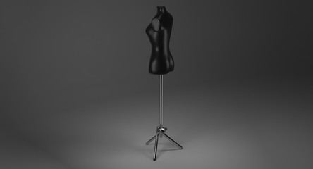 3D rendering - female black mannequin on metal stand for dressmaker isolated on black background.