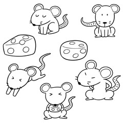 vector set of mouses