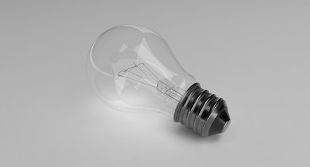 3D rendering - light bulb isolated on grey background.