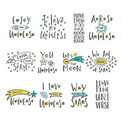 """Hand drawn word. Brush pen lettering with phrase """" i love the universe set """"."""