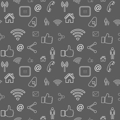 Seamless pattern with line social media icons - vector backgroundv