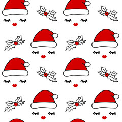 cute seamless vector pattern background illustration with eyelashes, red lips, santa's hats and holly