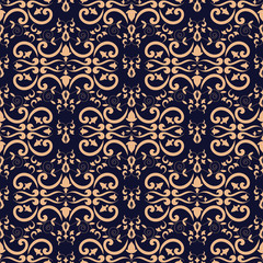 Baroque floral pattern vector seamless. Damask luxury background texture. Vintage flower ornament design for wallpaper, fabric swatch, backdrop, carpet, package, furniture textile.