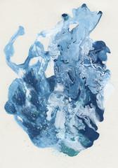 Macchia in acrilico liquido mescolato blu e bianco